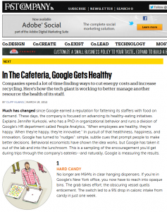 Fast Company article on Google's cafeteria overhaul
