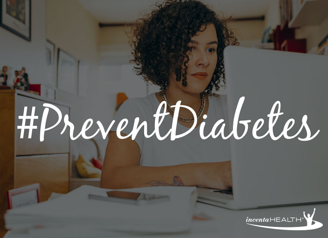 Woman on Laptop Prevent Diabetes with incentaHEALTH